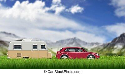 Caravan trailer on the mountain landscape vector background