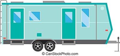 Caravan travel car vehicle trailer house summer vacation.