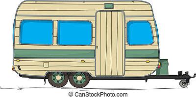 Caravan cartoon drawing against white background