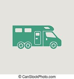 caravana, acampamento, ícone, família