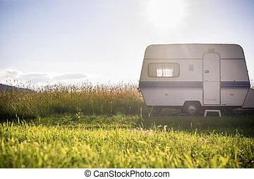 caravana, ajuste, soleado, remolque, rural