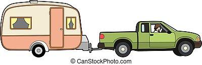 caravana, coche, remolcar