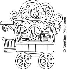 caravana, coloração, circo, página