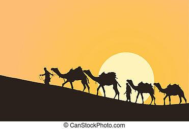 caravana, con, camellos, en, desierto