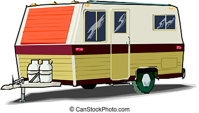 caravana, ilustração, branca