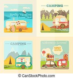 caravana, jogo, acampamento