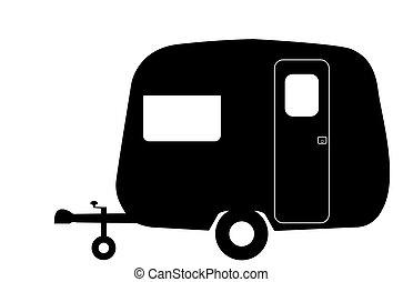 caravana, silueta, retro, diminuto