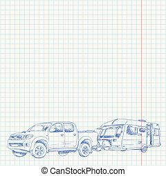 caravana, y, coche, bosquejo