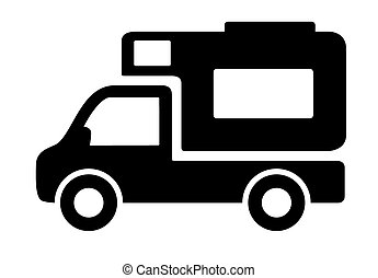 caravanas, furgões, veículos, campista, ícone