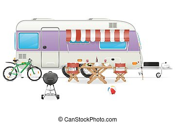 caravane, camp, caravane, vecteur, illustration