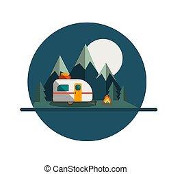 caravane, campeur, lune, écusson, montagne