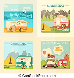 caravane, camping, ensemble