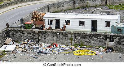 caravane, décharge, rubish
