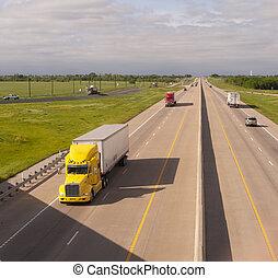 caravane, derrick, jaune, divisé, camion, hauls, fret, ...