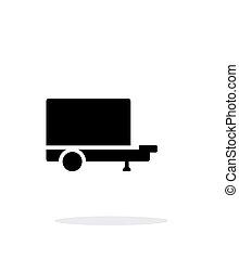 caravane, icône, simple, arrière-plan., blanc