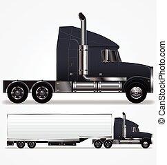 caravane, long, camion, semi, nez, vecteur