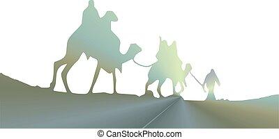 caravane, silhouette, chameaux