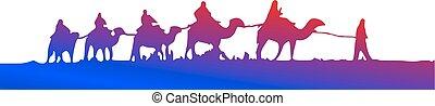 caravane, silueta, chameaux