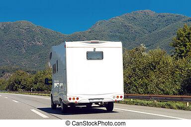 caravane, suisse, blanc, route