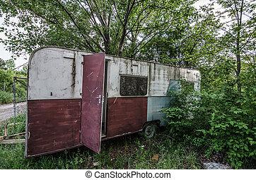 caravane, vieux,  nature