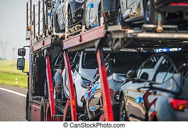 caravane, voiture, porteur, route, camion, semi
