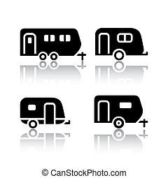 caravanes, ensemble, -, transport, icônes