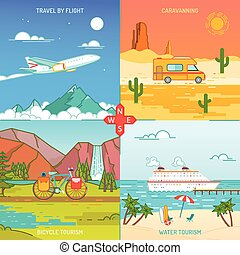 Caravaning, bicycle and water tourism. Icons of traveling