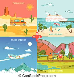 Caravaning Bicycle and water tourism Icons of traveling Flat sty