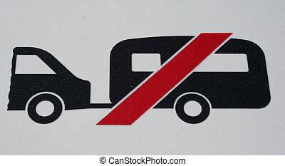 caravans prohibited sign