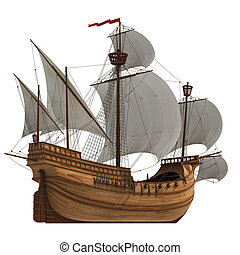 Caravel - Realistic 3D Model Of Caravel With White Sails.