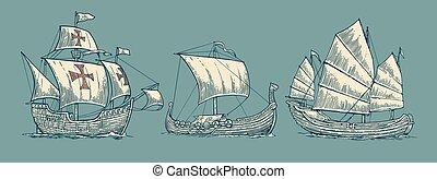 Caravel, drakkar, junk. Set sailing ships floating on the sea waves
