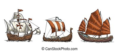 Caravel, drakkar, junk. Set sailing ships floating sea waves.