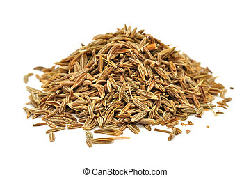 A pile of caraway seeds isolated on a white background