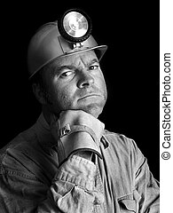 carbón, 2, minero, bw, retrato