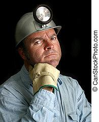 carbón, 2, minero, retrato