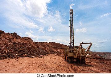 carbón, agujeros, mina, perforación