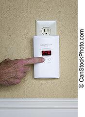 carbón, alarma, wall-mounted, monóxido