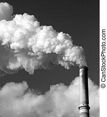 carbón, central eléctrica, chimenea, -, negro y blanco