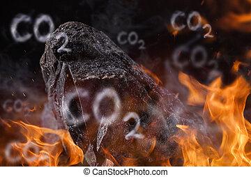 carbón, grumos, con, fuego, llamas