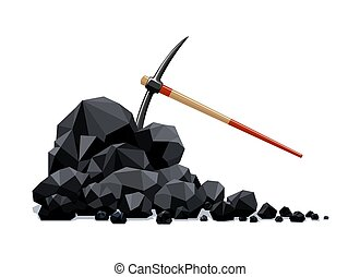 carbón, grumos, pico