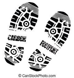 carbón, impresión pie, zapato