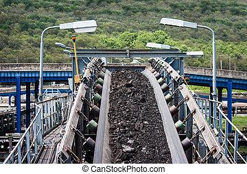 carbón, línea, procesamiento, transporte