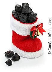 carbón, lleno, media de navidad