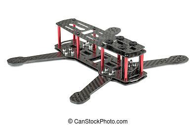 carbón, marco, fibra, quadrocopter