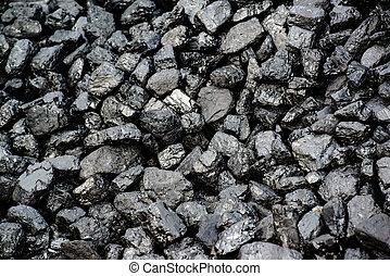 carbón, pila, negro