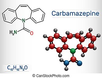 Carbamazepine, CBZ, C15H12N2O molecule. It is anticonvulsant...