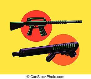 Carbine Guns Vector Illustration