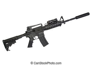 carbine, hangfogó, háttér, műtét, fehér, különleges