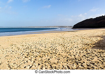 The beautiful sandy beach at Carbis Bay near St Ives Cornwall England UK