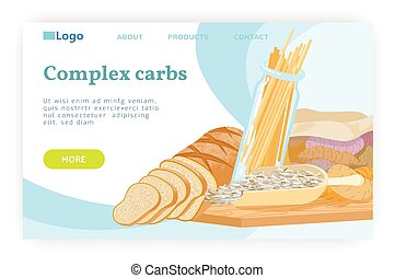 Carbohydrate food concept. Pasta, wheat bread, whole grain,...